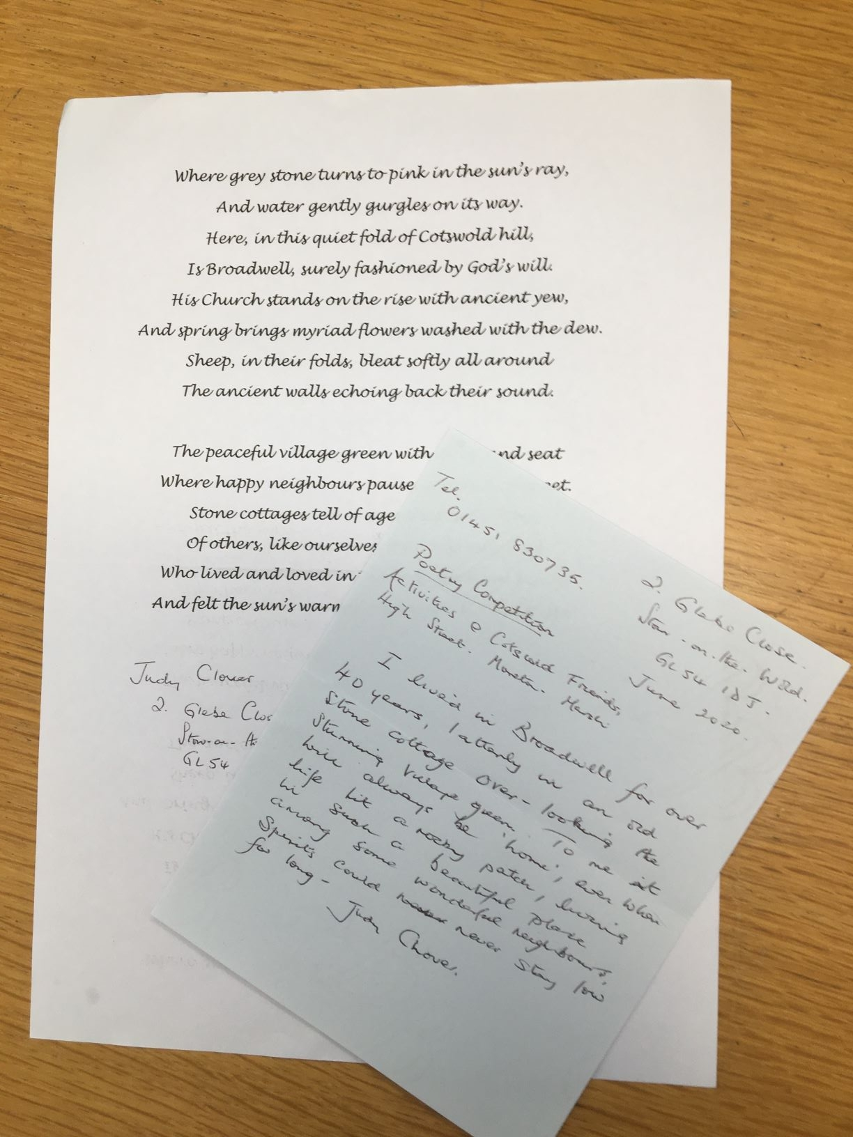 Poetry Competition - Read our Entries